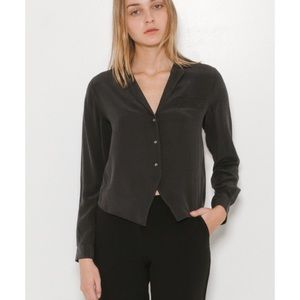 Equipment Cropped Silk Blouse